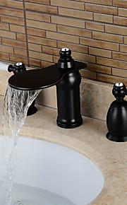 3-Loch-Armatur Zwei Griffe Drei Löcher in Bronze mit Ölschliff Waschbecken Wasserhahn