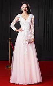 ts couture® prom formale sera A-Line V-collo chiffon pavimento-lunghezza / tulle con applicazioni / pizzo