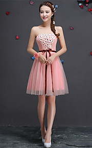 Short/Mini Tulle Bridesmaid Dress-Blushing Pink / Lilac / Champagne / Sky Blue A-line Strapless