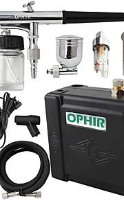 OPHIR 0.3mm Airbrush Spray Paint Air Compressor Kit Makeup Body Tattoo Hobby 100-240V