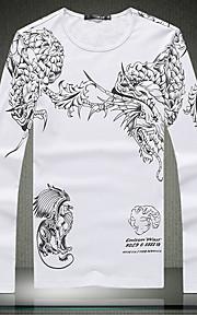 Menn Langermet T-skjorte Bomull Fritid Trykk