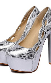 Chaussures Femme-Mariage / Bureau & Travail / Habillé / Décontracté / Soirée & Evénement-Noir / Argent-Talon Aiguille-Talons-Talons-Cuir
