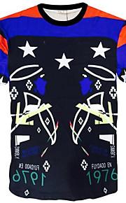 Camiseta De los hombres Casual Estampado-Poliéster-Manga Corta