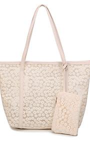Women PU Weekend Bag Tote-Beige / Pink / Black