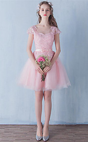 Short/Mini Tulle Bridesmaid Dress-Pearl Pink A-line Jewel