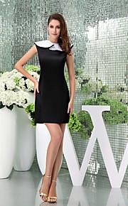 Cocktail Party Dress-Black Sheath/Column Jewel Short/Mini Satin