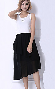 Women's Solid Color Irregular Hem Chiffon Skirts