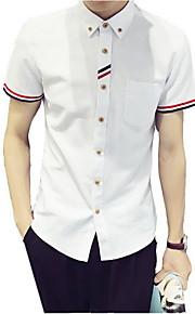 Camisa De los hombres Casual / Trabajo / Formal A Rayas / Un Color-Algodón / Poliéster-Manga Corta