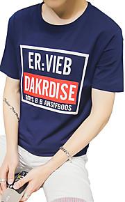 Kortærmet Ensfarvet Mænds T-shirt Fritid Bomuld