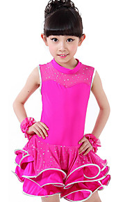 Latin Dance Dresses Children's Performance Spandex / Lace Draped / Sequins 1 Piece Black / Fuchsia / Red / Yellow