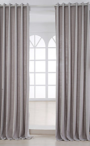 Deux Panneaux Moderne Solide Sauge Salle de séjour Métissé Lin et Polyester Panneau Rideaux rideaux
