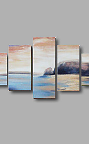 Hand-painted Abstract Seascape Wall Art Home Decor Oil Painting on Canvas 5pcs/set With Stretched Frame
