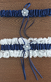 Garter Polyester Flower / Lace Blue