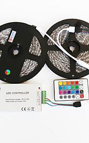 zdm ™ 2x5m imperméable 144W 5050 smd rgb lampe led contrôleur ligne de signal bande de 1bin2 IR24 de fer (DC12V 12a)