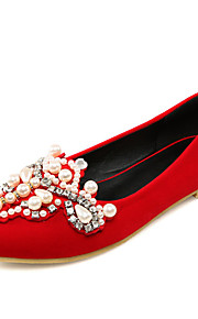 Chaussures de mariage-Noir / Rouge-Mariage / Bureau & Travail / Soirée & Evénement / Travaille / Habillé-A Plateau / Bout Pointu-Plates-