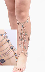 4Pc Ribbon Ankle Chain Barefoot SandalsThigh Chain Bracelet Bridesmaid Jewelry Set(2pc Thigh Chain+2PcAnkle Chain)