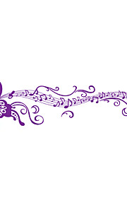 DIY Creative Purple Butterfly Music Note Wall Stickers Removable Living Room TV Background Art Wall Decals