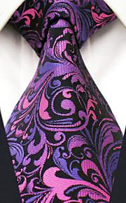 Men's 100% Silk  Tie Purple Floral Necktie Jacquard Woven