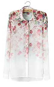 Damen Tierfell-Druck Hemd - Polyester Langarm Hemdkragen
