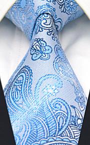 Men's 100% Silk  Tie Blue  Paisley Necktie Jacquard Woven