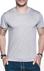 남성의 캐쥬얼 티셔츠 짧은 소매 퓨어 면 / 나일론