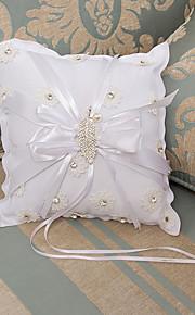 White Ring Pillow Satin Beach Theme / Vegas Theme / Classic Theme With Ribbons(17*16*14cm)