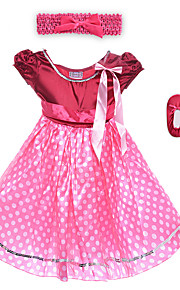Performance Dresses Children's Performance Spandex / Polyester Flower(s) / Sash/Ribbon / Leopard 2 Pieces Burgundy