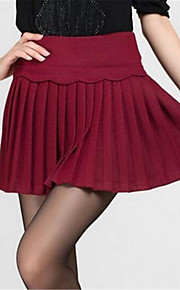 Women's Solid Red / Black Skirts,Work Mini