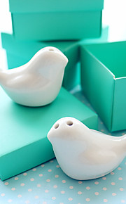 Love Birds Ceramic Salt And Pepper Shakers in Pepepr Blue Box Wedding Favor