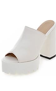 Черный / Белый / Миндальный-Женская обувь-Для праздника / На каждый день-Дерматин-На толстом каблуке-На каблуках / С открытым носком / На