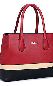 Women-Formal / Casual / Office & Career / Shopping-PU-Tote-Blue / Red / Black / Khaki