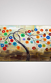 Hand-Painted Abstract Lucky Tree Oil Painting with Stretched Framed
