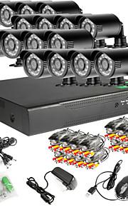 16ch 960H netwerk dvr 16pcs 1000tvl ir outdoor CCTV camera systeem