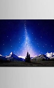 E-HOME® Stretched LED Canvas Print Art Starlight And Snow Mountain LED Flashing Optical Fiber Print One Pcs