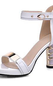 Черный / Белый-Женская обувь-Для офиса / Для праздника / Для вечеринки / ужина-Замша / Лакированная кожа-На толстом каблуке-На каблуках /