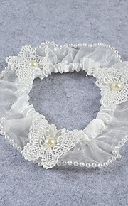 Garter Stretch Satin / Lace Flower / Imitation Pearl Ivory