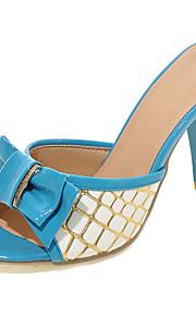 Синий / Розовый / Красный-Женская обувь-Для прогулок / Для праздника / На каждый день-Полиуретан-На шпильке-На каблуках / С открытым