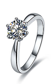koreanische Art und Weise 1ct Solitär Verlobungsring Zinken sona Diamantring für Frauen Sterling Silber, Platin beschichtet Einstellung