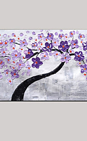 Palette Knife Art Oil Painting Hand Painted Purple Wall Decor Picture Fresh Green Pink Cherry Blossom Stretched Frame
