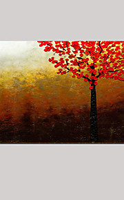 Hand-Painted Red Tree Abstract Landscape Modern Knife Oil Painting On Canvas One Panel Ready To Hang