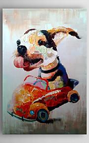 håndmalte oljemaleri dyr livlig hund i bilen med strukket ramme 7 veggen arts®