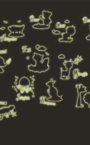 Luminous Animals Name Cartoon Children's Bedroom Luminous Wall Stickers PVC Fashion Wall Decals