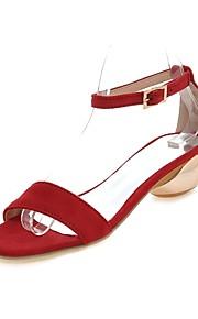 Черный / Розовый / Красный-Женская обувь-Для праздника / На каждый день-Дерматин-На толстом каблуке-С открытым носком / С ремешком на