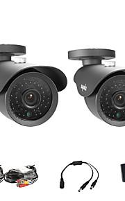 sannce® 2 stuks 900tvl 42pcs geleid, tot 110 ft nachtzicht hoge resolutie CCTV camera's (zwart)