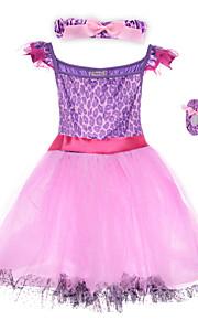 Performance Dresses Children's Performance Spandex / Polyester Flower(s) / Sash/Ribbon / Leopard 2 Pieces Purple