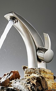Moderne Basin Enkelt håndtag Et Hul in Nikkel Børstet Badekarshaner