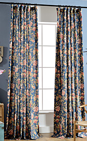 Deux Panneaux Rustique / Moderne / Néoclassique / Méditerranéen / Européen Floral / Botanique / Feuille Bleu Chambre à coucherMétissé Lin