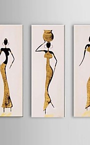 käsinmaalattu afrikkalainen naiset öljyvärimaalaus kankaalle 3kpl / asettaa seinälle rahtuakaan runko