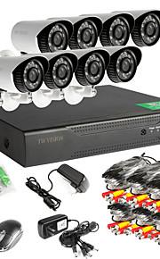 8-kanals 960h netværk dvr 8pcs AHD udendørs CCTV overvågningskameraer systemet