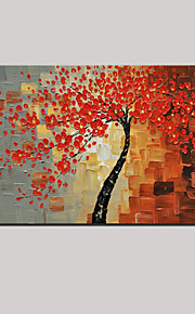 Hand-painted Abstract Red Life Trees Flower Oil Painting with Stretched Frame